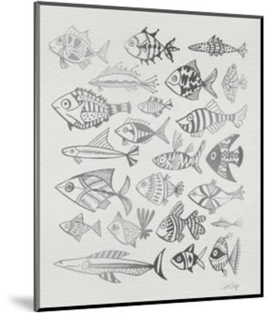 Fish Inklings in Silver Ink-Cat Coquillette-Mounted Giclee Print