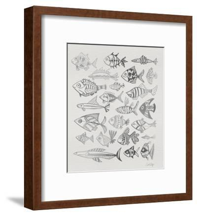 Fish Inklings in Silver Ink-Cat Coquillette-Framed Giclee Print