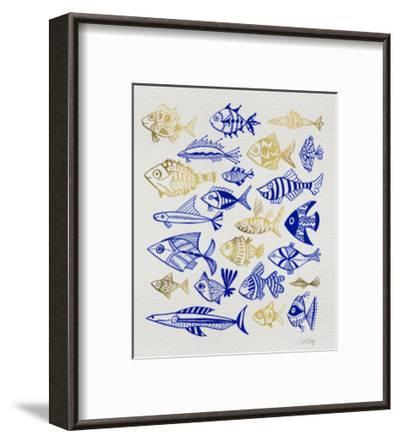 Fish Inklings in Navy and Gold Ink-Cat Coquillette-Framed Giclee Print