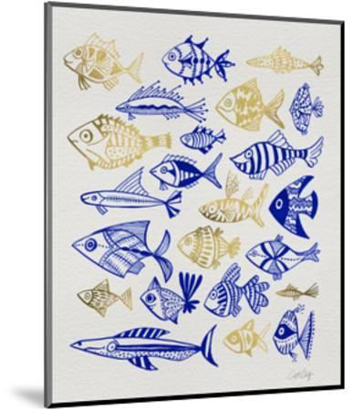 Fish Inklings in Navy and Gold Ink-Cat Coquillette-Mounted Giclee Print