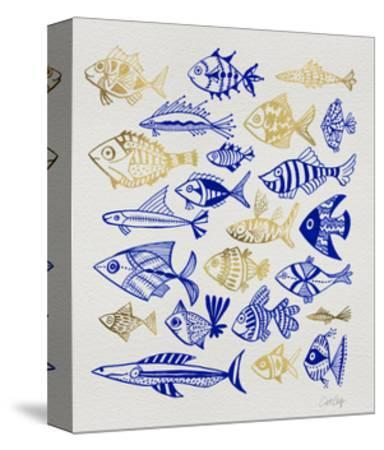 Fish Inklings in Navy and Gold Ink-Cat Coquillette-Stretched Canvas Print