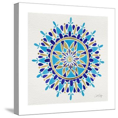 Mandala in Navy and Gold– Cat Coquillette-Cat Coquillette-Stretched Canvas Print