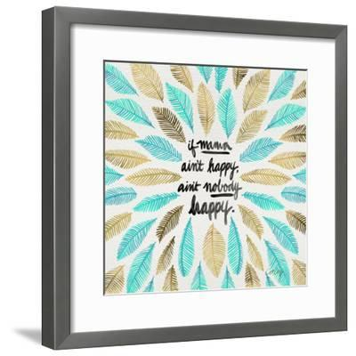 If Mama Aint Happy - Turquoise and Gold – Coquillette-Cat Coquillette-Framed Giclee Print