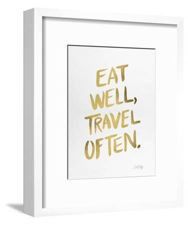 Eat Well Travel Often - Gold Ink-Cat Coquillette-Framed Giclee Print