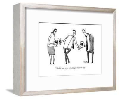 """Check it out, guys?finally got my wine legs!"" - New Yorker Cartoon-Tom Chitty-Framed Premium Giclee Print"