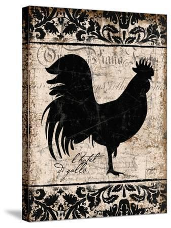 Black Rooster 1-Diane Stimson-Stretched Canvas Print