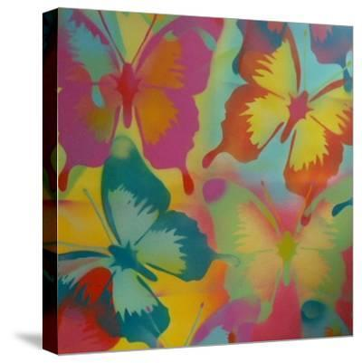 Butterflies-Abstract Graffiti-Stretched Canvas Print
