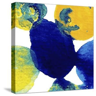 Yellow and Blue Abstract Flowing Paint-Amy Vangsgard-Stretched Canvas Print