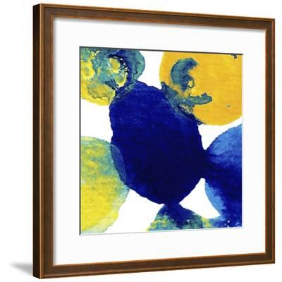 Yellow and Blue Abstract Flowing Paint-Amy Vangsgard-Framed Giclee Print