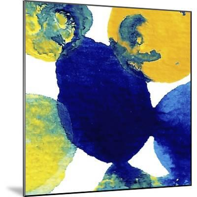Yellow and Blue Abstract Flowing Paint-Amy Vangsgard-Mounted Giclee Print