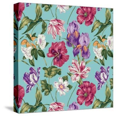 Floral Waltz Aqua-Bill Jackson-Stretched Canvas Print
