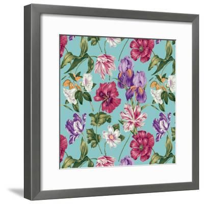 Floral Waltz Aqua-Bill Jackson-Framed Giclee Print