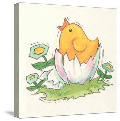 Chick with Egg-Beverly Johnston-Stretched Canvas Print