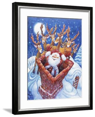 Reindeer Watch Santa Slide Down Chimney-Bill Bell-Framed Giclee Print