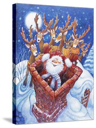 Reindeer Watch Santa Slide Down Chimney-Bill Bell-Stretched Canvas Print