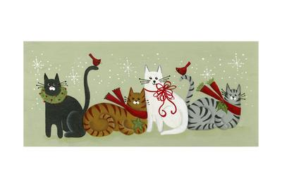 4 Holiday Cats and 2 Cardinals-Beverly Johnston-Framed Giclee Print