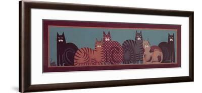 6 Cats with Border-Beverly Johnston-Framed Giclee Print
