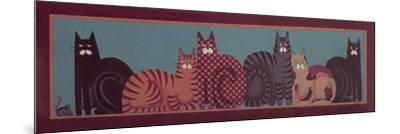 6 Cats with Border-Beverly Johnston-Mounted Giclee Print