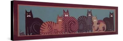 6 Cats with Border-Beverly Johnston-Stretched Canvas Print