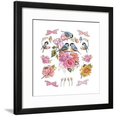 Chick on Rose--Framed Giclee Print