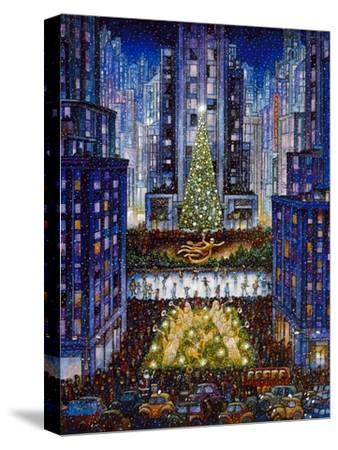 Rockefeller Center 2 Blue-Bill Bell-Stretched Canvas Print