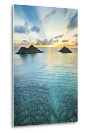Lanikai Rainbow Sunrise-Cameron Brooks-Metal Print