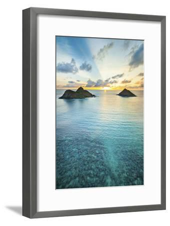 Lanikai Rainbow Sunrise-Cameron Brooks-Framed Premium Photographic Print