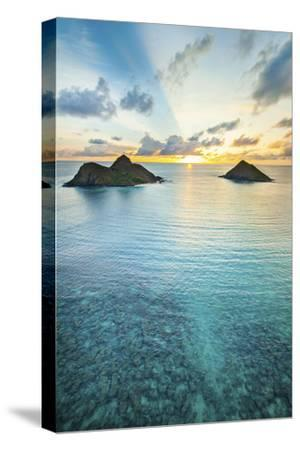 Lanikai Rainbow Sunrise-Cameron Brooks-Stretched Canvas Print