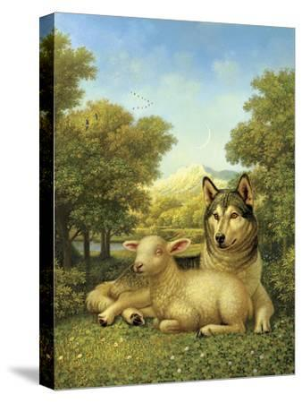 Wolf Lies Down with the Lamb-Dan Craig-Stretched Canvas Print
