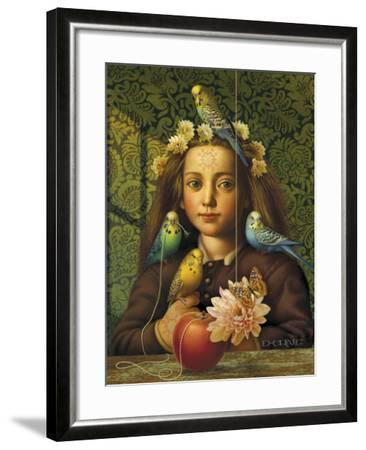 Girl with Parakeets-Dan Craig-Framed Giclee Print