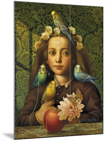 Girl with Parakeets-Dan Craig-Mounted Giclee Print