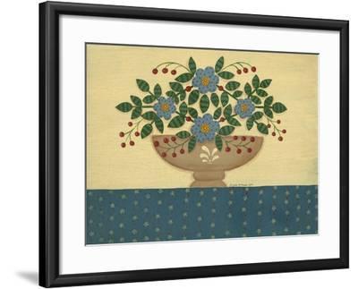 Lt. Blue Flowers with Dark Blue Talecloth-Debbie McMaster-Framed Giclee Print