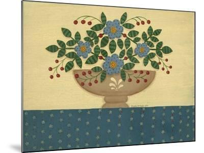 Lt. Blue Flowers with Dark Blue Talecloth-Debbie McMaster-Mounted Giclee Print