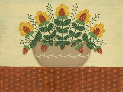 Yellow Flowers with Pumpkin Colored Tablecloth-Debbie McMaster-Framed Giclee Print
