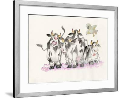 Cows and Duck-Bill Bell-Framed Giclee Print