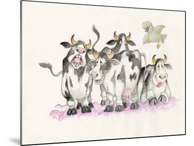 Cows and Duck-Bill Bell-Mounted Giclee Print