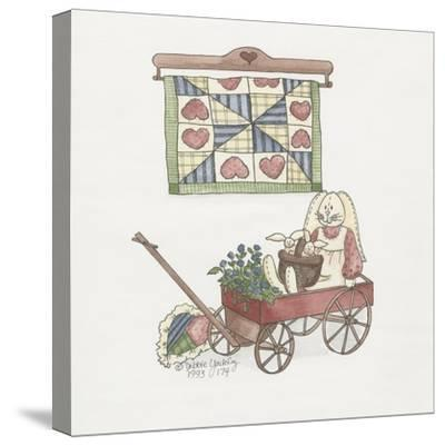 Bunny in Wagon-Debbie McMaster-Stretched Canvas Print