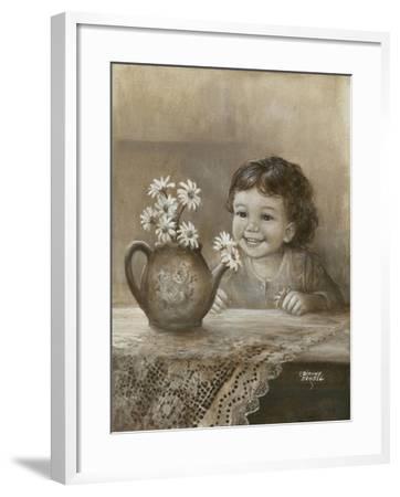Kid with Daises-Dianne Dengel-Framed Giclee Print