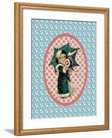 Vintage Christmas Card Girl with Umbrella 2-Effie Zafiropoulou-Framed Giclee Print