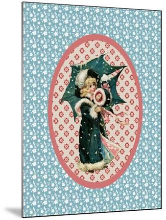 Vintage Christmas Card Girl with Umbrella 2-Effie Zafiropoulou-Mounted Giclee Print