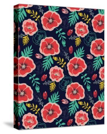 Floral Pattern V-Esther Loopstra-Stretched Canvas Print