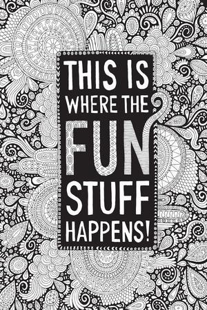 This Is Where the Fun Stuff Happens Black-Hello Angel-Stretched Canvas Print