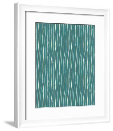 Teal Stripe Pattern-Esther Loopstra-Framed Giclee Print