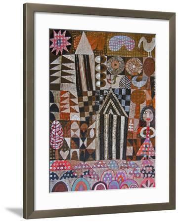 Woman and 2 Huts-Hilke Macintyre-Framed Giclee Print