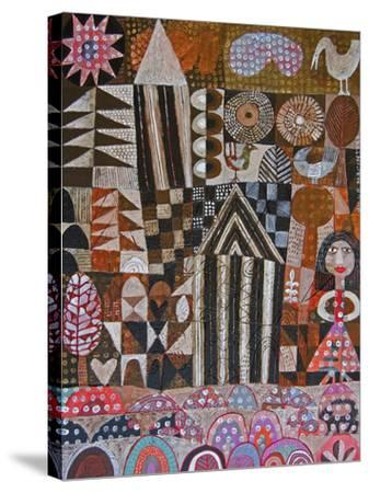 Woman and 2 Huts-Hilke Macintyre-Stretched Canvas Print