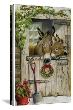 Christmas Donkies-Janet Pidoux-Stretched Canvas Print