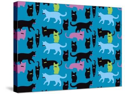 The Cats Meowstache-Joanne Paynter Design-Stretched Canvas Print