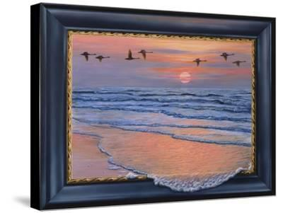 Sundown with Swans-Harro Maass-Stretched Canvas Print