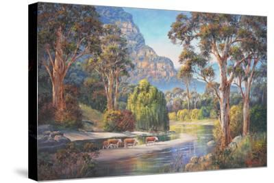 Wollondilly Autumn-John Bradley-Stretched Canvas Print