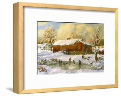 Children Skating at the Pond Behind the Barn-Jack Wemp-Framed Giclee Print